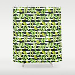 cactuses pattern on black watercolor stripes Shower Curtain