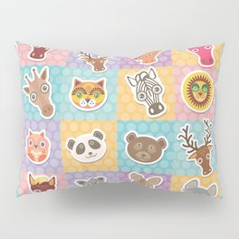 funny animals muzzle pattern with pink lilac blue orange square Pillow Sham