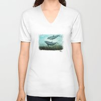 dolphins V-neck T-shirts featuring Two Inshore Dolphins ~ Watercolor by Amber Marine
