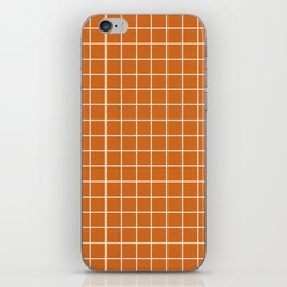 Chocolate (web) - brown color - White Lines Grid Pattern iPhone Skin