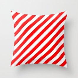 Diagonal Stripes (Red & White Pattern) Throw Pillow