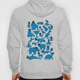 Blue Animals Black Hats Hoody