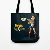 popeye Tote Bags featuring Popeye the Sailor Moon by bluthan