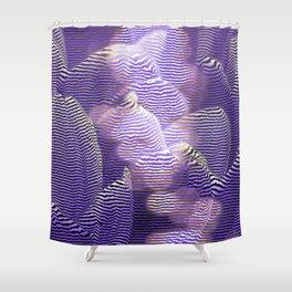 Striped crocus petals with bokeh effect Shower Curtain