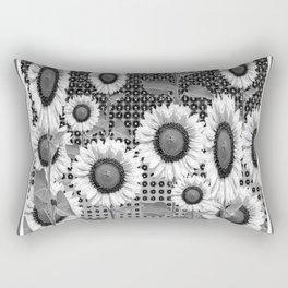 B&W NEW YORK STYLE FLORAL ART Rectangular Pillow