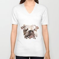 bulldog V-neck T-shirts featuring Bulldog by Glen Gould