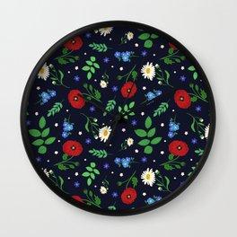 Swedish Folk Flowers Wall Clock