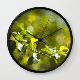 Green leaves and bokeh effect Wall Clock