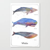 whales Canvas Prints featuring Whales by Lene Daugaard