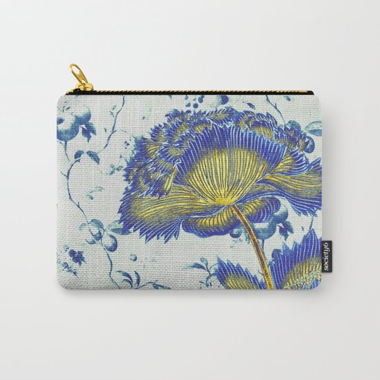 floral chinoiserie in blue and gold Carry-All Pouch