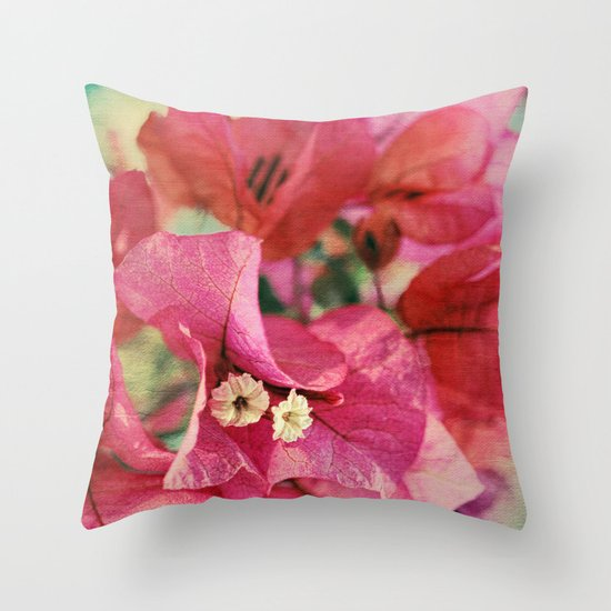 Vintage Bougainvillea Flowers in pink & green with textures Throw Pillow