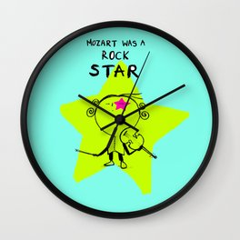 MOZART WAS A ROCK STAR (BLUE) Wall Clock