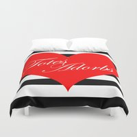 totes Duvet Covers featuring Totes Adorbs Red Heart  by The Trendy Sparrow