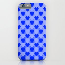 Zigzag of light blue hearts staggered on a dark background. iPhone Case