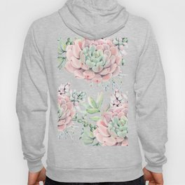 Pink Succulents on Cream Hoody