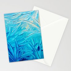 WATER FLOWERS - Beautiful Water Ocean Theme Shades Blue Floral Modern Design Abstract Painting Stationery Cards