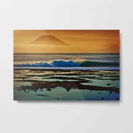 Indonesian Wave and Volcano Metal Print