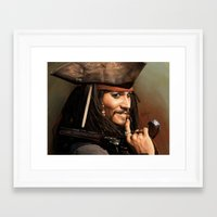jack sparrow Framed Art Prints featuring Jack Sparrow by Hernán Castellano