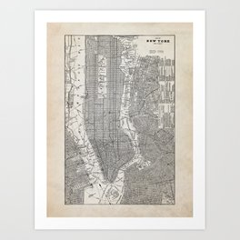 Vintage New York City Map Art Print