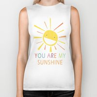 you are my sunshine Biker Tanks featuring You Are My Sunshine by Lisa Jayne Murray - Illustration
