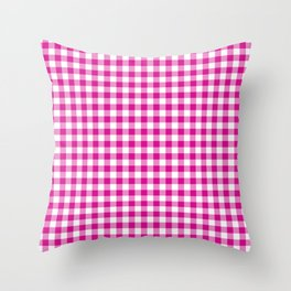 Shocking Hot Pink Valentine Pink and White Buffalo Check Plaid Throw Pillow