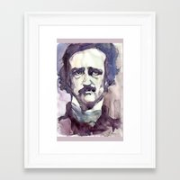 edgar allan poe Framed Art Prints featuring Edgar Allan Poe by Germania Marquez
