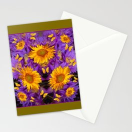 YELLOW BUTTERFLY SWARM LILAC-KHAKI COLOR Stationery Cards