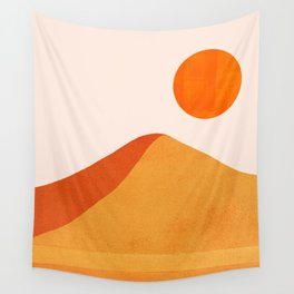 Abstraction_Mountains_SUN_Minimalism_01 Wall Tapestry