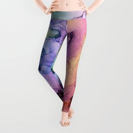 Colorful Abstract Ink Swirls with Gold Marble Leggings