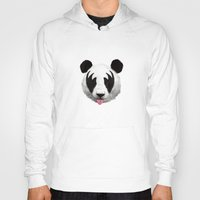 posters Hoodies featuring Kiss of a panda by Robert Farkas