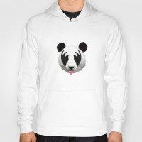 brazil Hoodies featuring Kiss of a panda by Robert Farkas