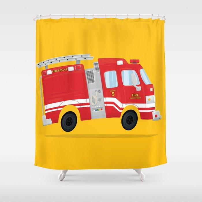 Cute Firetruck Shower Curtain By Npoland