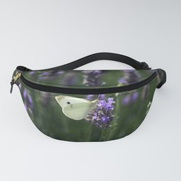 White Butterfly in a Lavender Field Fanny Pack