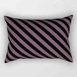 Eggplant Violet and Black Diagonal LTR Stripes Rectangular Pillow