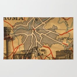 Vintage Made Modern: Italian Map collaged with Historic Sites Rug