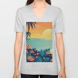 Sunset Beach Illustration Unisex V-Neck