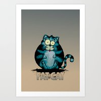 fat Art Prints featuring Fat Cat by mangulica illustrations
