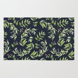 Pink green hand painted watercolor floral leaves pattern Rug