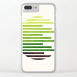 Mid Century Modern Minimalist Circle Round Photo Sap Green Staggered Stripe Pattern Clear iPhone Case