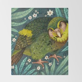 Kakapo Throw Blanket