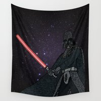 darth Wall Tapestries featuring Darth Vader  by Rebecca Bear
