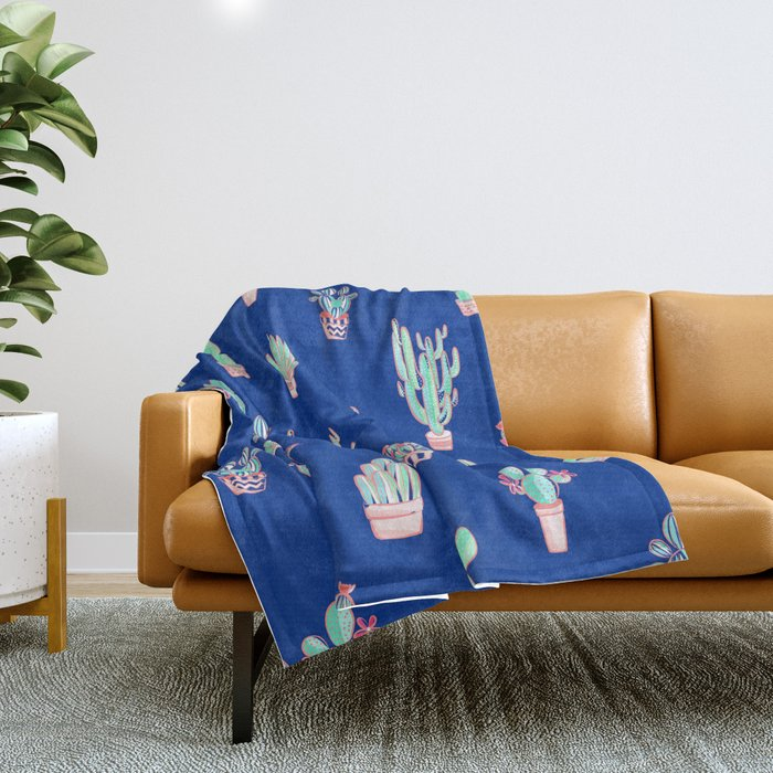 Little cactus pattern - Princess Blue Throw Blanket