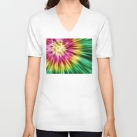 tie dye V-neck T-shirts featuring Abstract Green Tie Dye by Phil Perkins