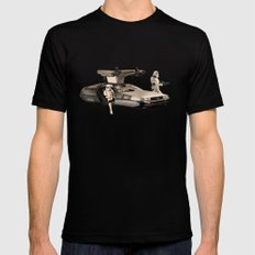 2 Stormtrooopers in a Hover DeLorean  Mens Fitted Tee LARGE Black