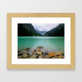 Rainy Day on Lake Louise Framed Art Print