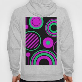 Retro Rings And Circles - Black, Purple And Green Hoody