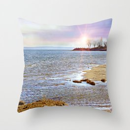 Sunset At The Beach - Tod's Point Throw Pillow