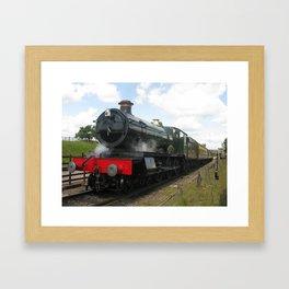 Vintage steam engine railway train Framed Art Print