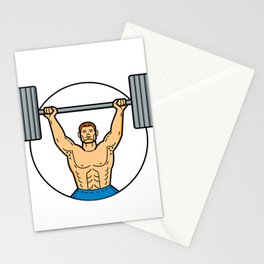 Weightlifter Lifting Barbell Mono Line Art Stationery Cards