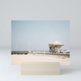 Arcachon Bay Carousel on the bright blue beach, Southern France   European travel photography  Mini Art Print
